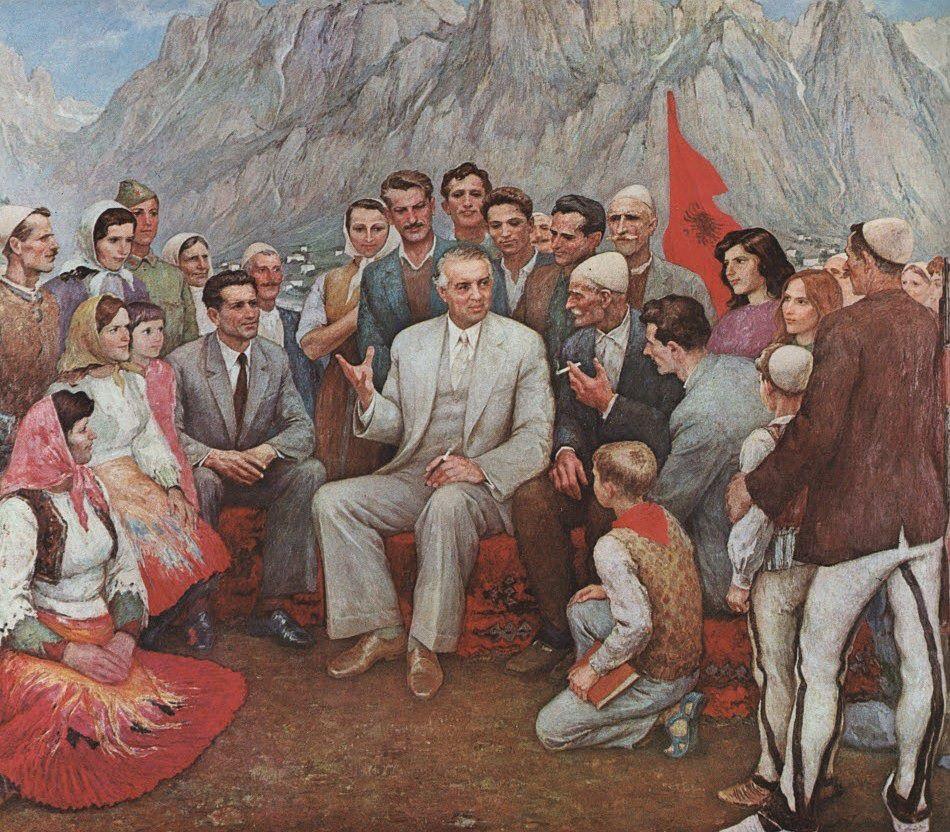 Pittura Enver Hoxha Con Il Popolo