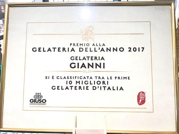 Gelateria Gianni, premio alla gelateria dell'anno 2017, di Erion Kaso